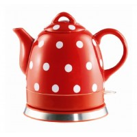 Fixture Displays® Teapot Ceramic Electric Kettle Warm Plate, Red Polka Dot Decor, Gift, New,13581
