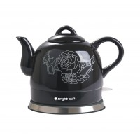 Fixture Displays® Teapot Ceramic Electric Kettle Warm Plate, Black Peony Decor, Gift, New,13583