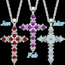 Fixture Displays® Forever Silver Plated Birthstone Cross Necklace 12 Options 14000