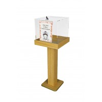 Fixture Displays® Wood Acrylic Large Floor Standing Tithing Box Offering Box with Sign Holder 14300+12065