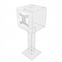 Fixture Displays® Clear Plexiglass Acrylic Large Floor Standing Tithing Box Ballot Box Church Donation with Sign Holder 14301+12065