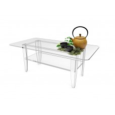 Fixture Displays® All Clear Coffee Table Plexiglass Frame Glass Tops 14695