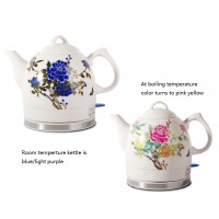 Fixture Displays® Ceramic Electric Kettle with Peony Flower Pattern Two-tone No-Plastic Parts 15000
