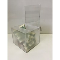Fixture Displays® Clear Acrylic Donation Box Frost Body Fund-raising Box Charity Box Collection Box 15130