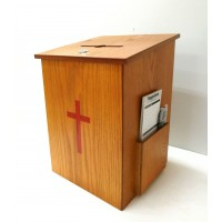 Fixture Displays® Donation Box, Tithing Box, Church Offering Box, Prayer Box with Cross 15138