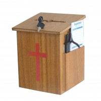 Box, Church Collection Donation Charity w/ Cross & Pen15203