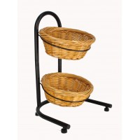 Fixture Displays® 2 Tier Basket Stand, Sign Clips, Wicker - Black 15640