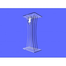 Clear Acrylic Lucite Podium Pulpit Lectern with Prayer Hands Logo