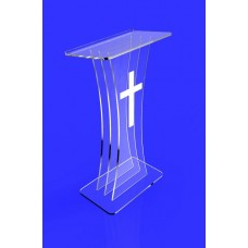 Clear Acrylic Lucite Podium Pulpit Lectern with White Cross