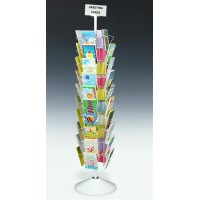 Fixture Displays® 10-Tiered Greeting Card Rack for Floor, 40 Pockets, with Sign Clip, Rotating - White 19344