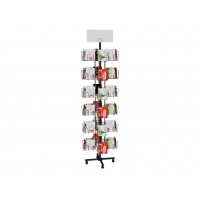 6-Tiered Greeting Card Rack for Floor, 72 Pockets, with Sign Clip, Rotating - Black 19345