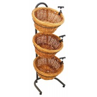 3-Tiered Basket Stand, Sign Clips, Wicker - Black 19425