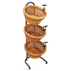 3-Tiered Basket Stand, Sign Clips, Wicker - Black19425