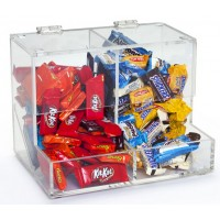 Fixture Displays® Acrylic Candy Bin for Tabletop Use, 2 Compartments - Clear 19477