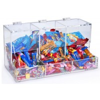 Fixture Displays® Acrylic Candy Bin for Tabletop Use, 3 Compartments - Clear 19495