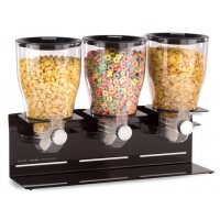 Fixture Displays® Triple Food Dispenser, 1 Gallon Each, Counter or Wall Mount, Portion Control - Black 19507
