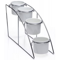 Fixture Displays® 4-Tier Wire Serving Platter with 4 Round Melamine Dishes 19663