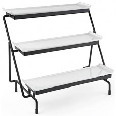 Fixture Displays® 3-Tier Wire Serving Platter w/ (3) Flat Sleigh Porcelain Dishes - Black and White 19665