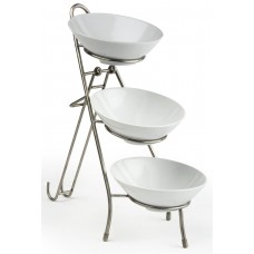 Fixture Displays® 3 Tier Wire Serving Platter with (3) Melamine Bowls - Black and White 19672