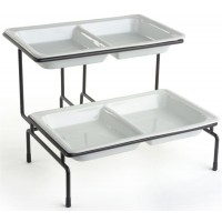 Fixture Displays® 2 Tier Wire Serving Platter with (2) 2 Section Porcelain Dishes - Black and White 19674