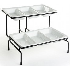 Fixture Displays® 2 Tier Wire Serving Platter with (2) 3 Section Porcelain Dishes - Black and White 19675