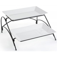 Fixture Displays® 2 Tier Wire Serving Platter with (2) Melamine Trays - Black and White 19677