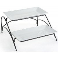 Fixture Displays® 2 Tier Wire Serving Platter with (2) Porcelain Trays - Black and White 19678