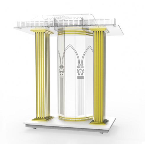 Pulpit Podium for Floor Cross Design FixtureDisplays Lectern Steel /& MDF Silver 119759