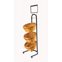 Fixture Displays® 3-Tiered Wicker Basket Flooring Stand W/Sign Holder 31042