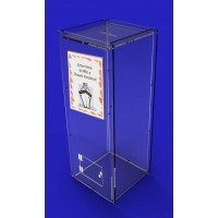 Fixture Displays® Donation Box,Clear Ghost Acrylic Floor Standing Charity Box with Sign Holder 3488+12065