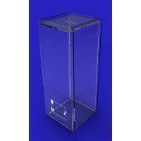 Fixture Displays® Donation Box, Clear Ghost Acrylic Floor Standing Charity Box 3488