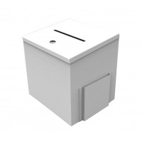 Fixture Displays® Box, Metal White Donation Suggestion Charity Fundraising 9