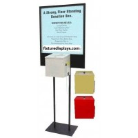 Fixture Displays® Stand, Bulletin Poster Donation Ballot Collection w/box 11063