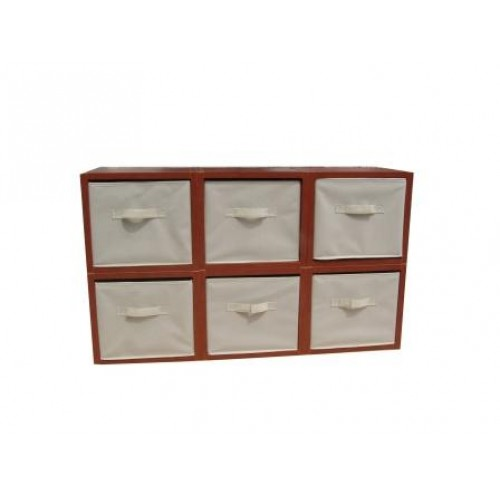 Fixture Displays Storage Modular Wood Blocks With Fabric Bins 6 Set