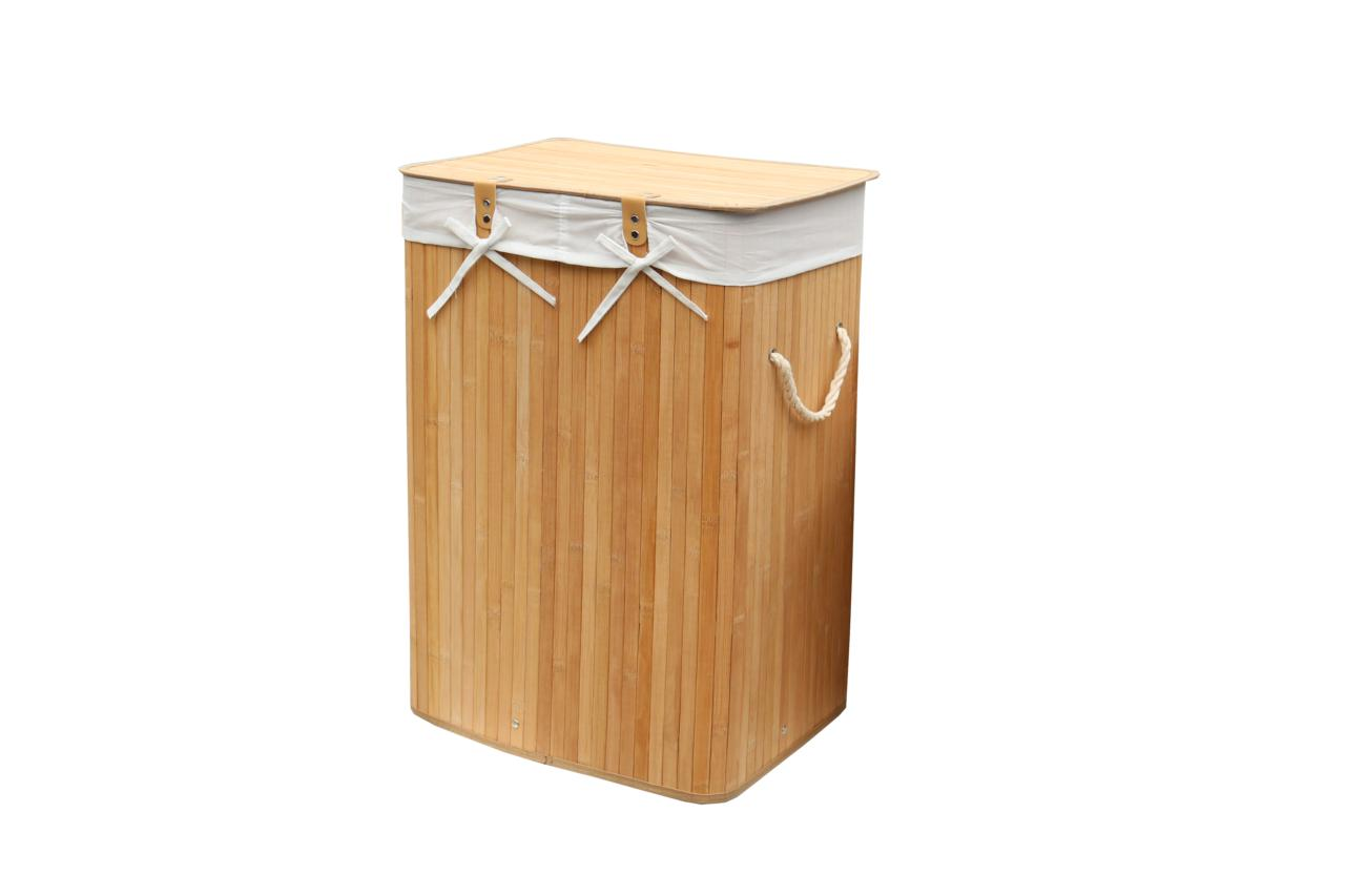 Set of 3 laundry hampers bamboo square wicker clothes bin organizers 100205 ebay - Bamboo clothes hamper ...