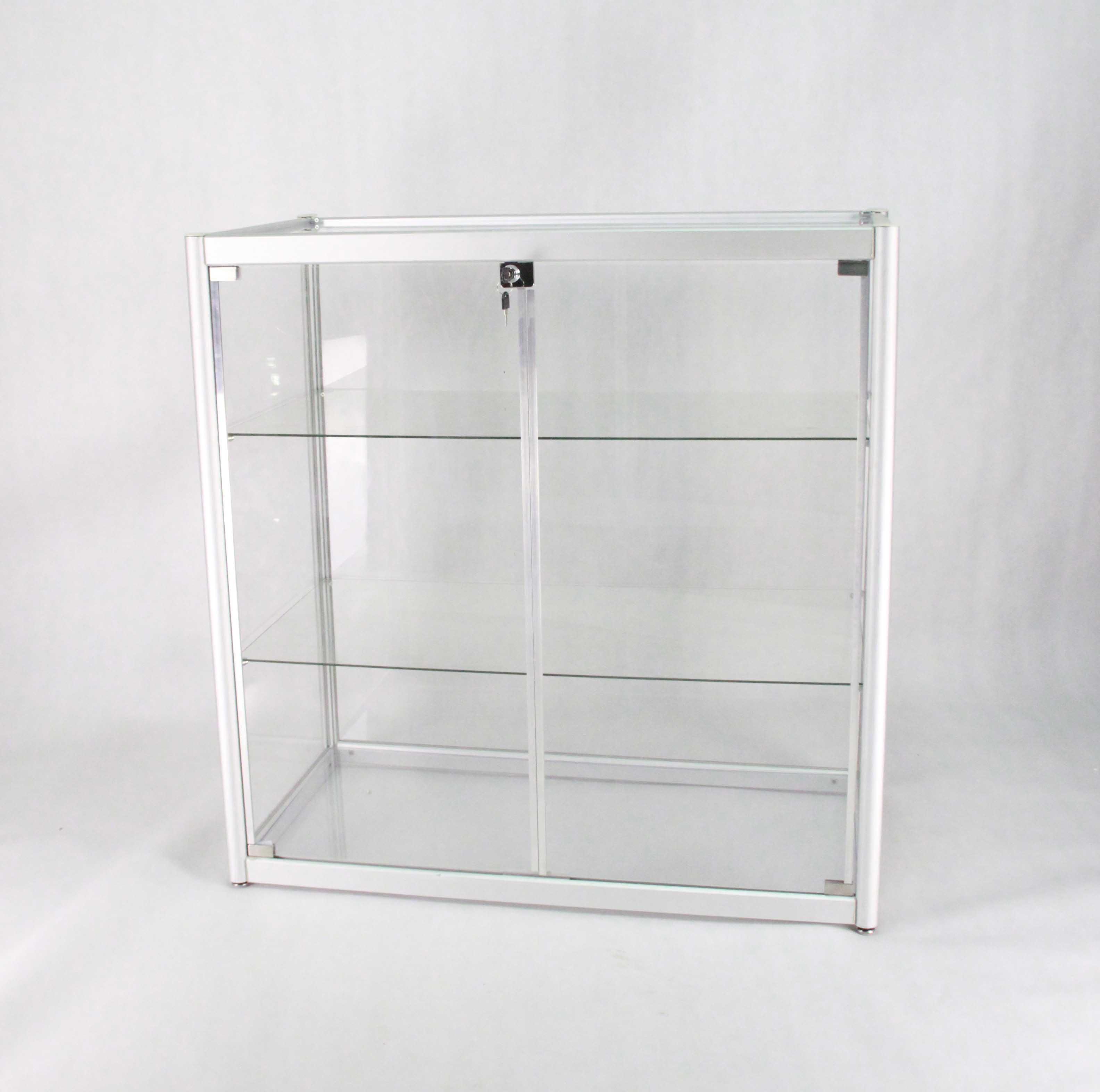Fixturedisplays Aluminum Glass Display Showcase Sliding Door With