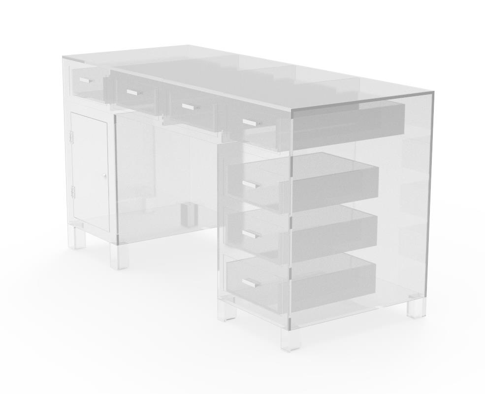 Clear Acrylic Plexiglass Executive Desk Hotel Lobby Boutique