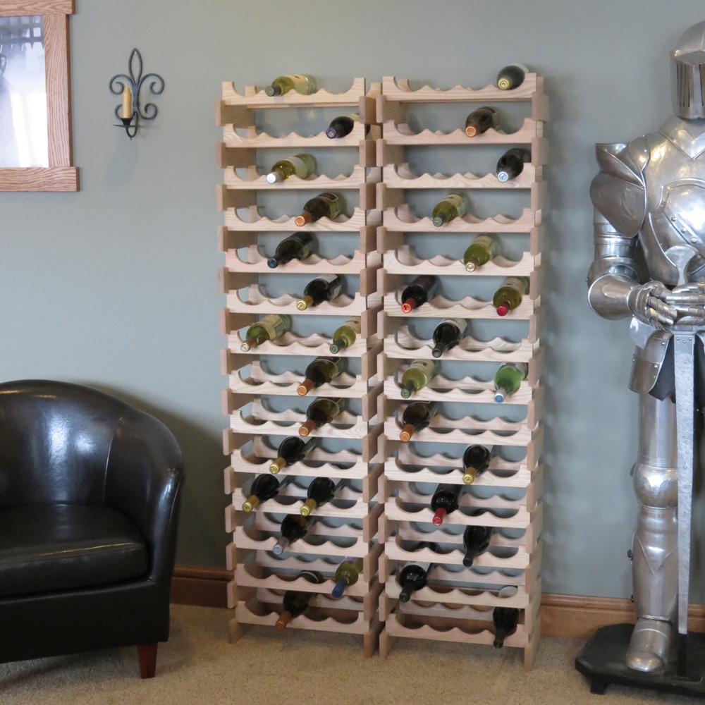 Countertop oak wood wine rack bottle display stand
