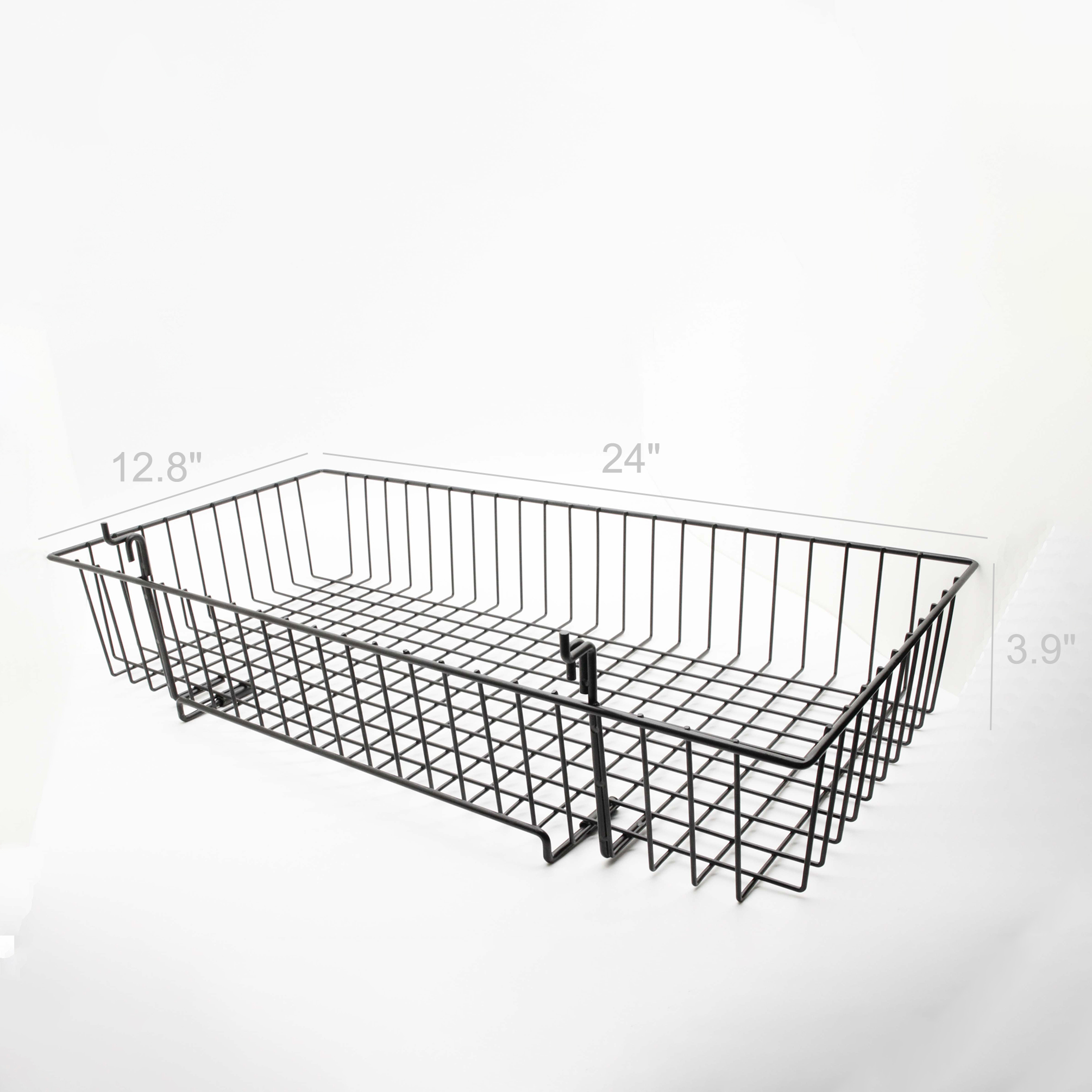24 x 12 metal gridwall slatwall basket w hooks black119074 ebay. Black Bedroom Furniture Sets. Home Design Ideas