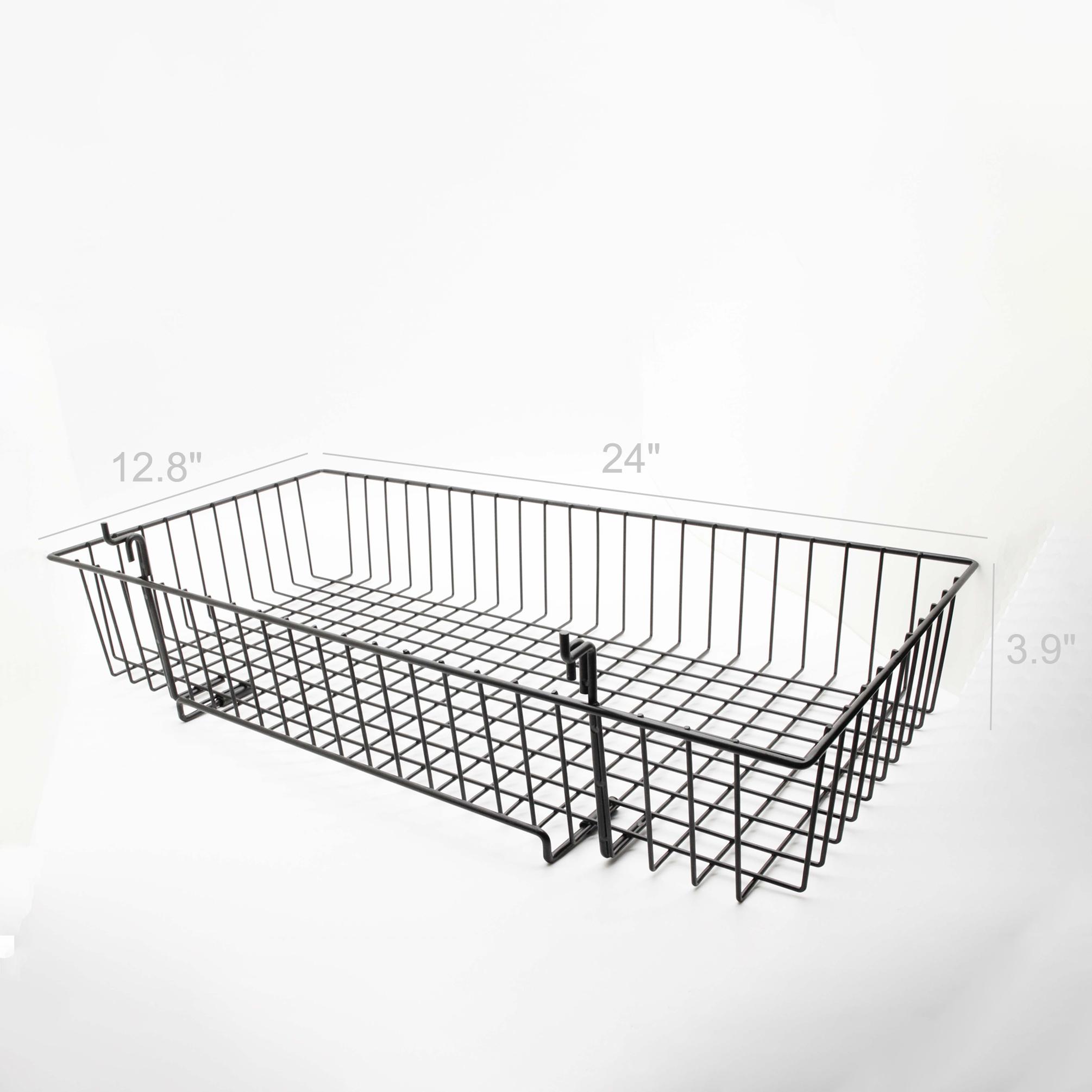 "Metal Grid Wall 24x12"" metal gridwall basket wire holder slatwall hanging basket"
