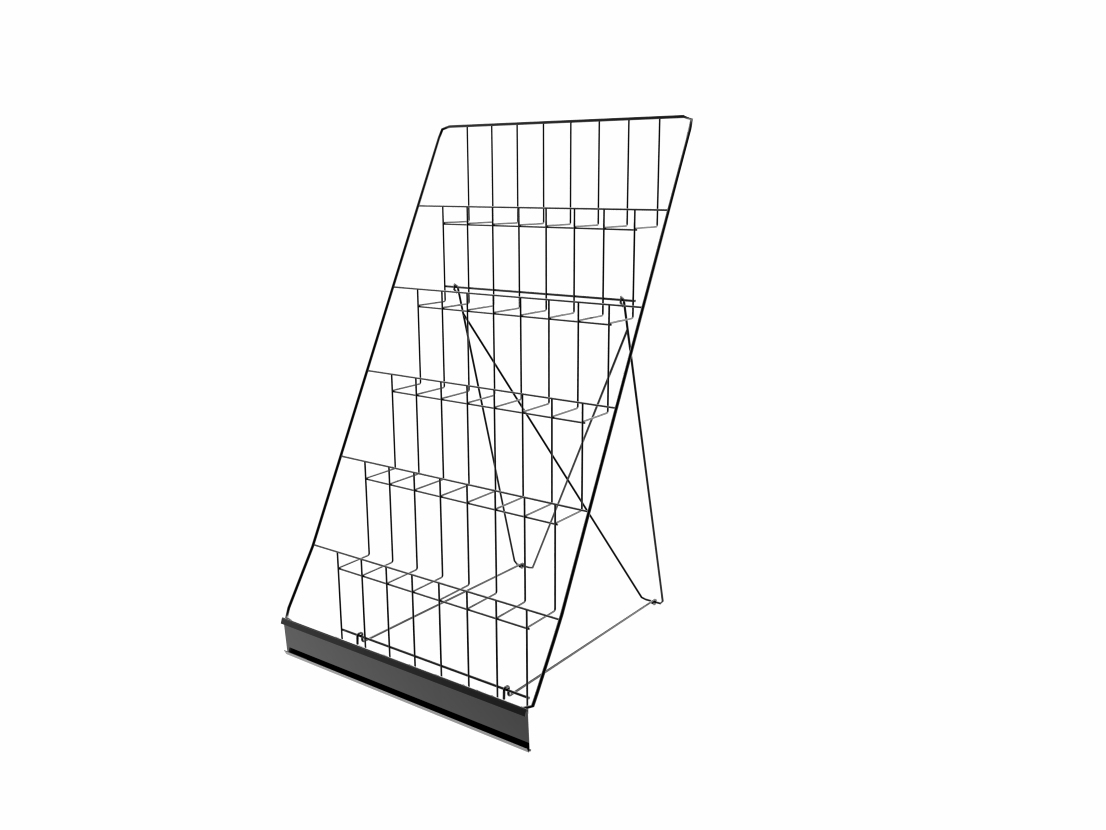 Tiered wire display rack for tabletops open shelves