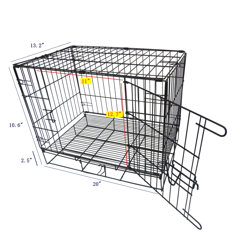 Foldable wire metal folding pet cage crate dog cage kennel for Metal shipping crate