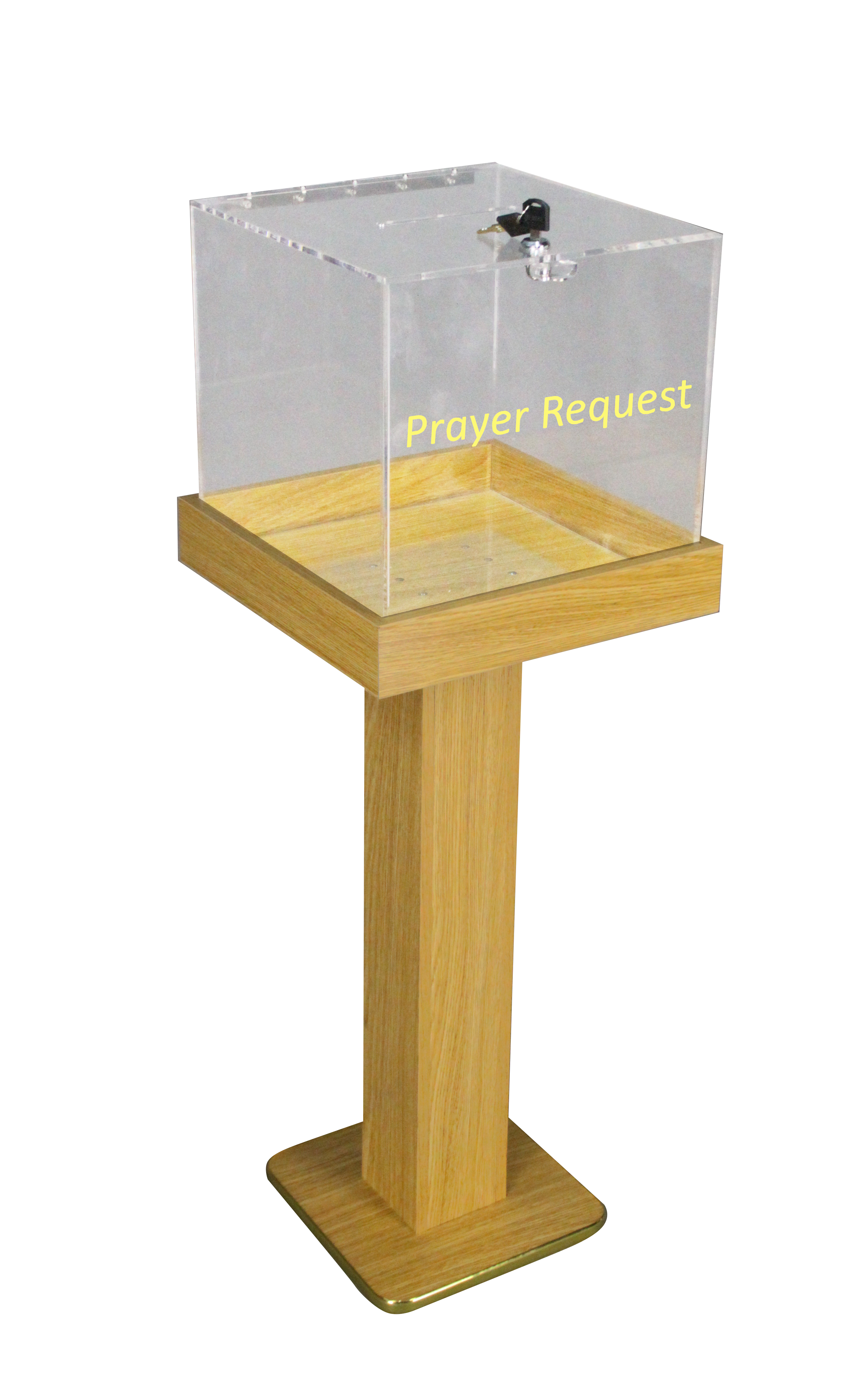 Acrylic Offering Boxes : Wood acrylic large floor standing tithing box offering