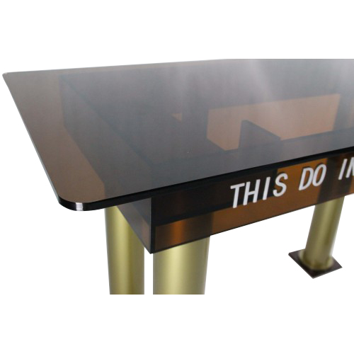 tawny acrylic church holy communion table tradeshow table desk