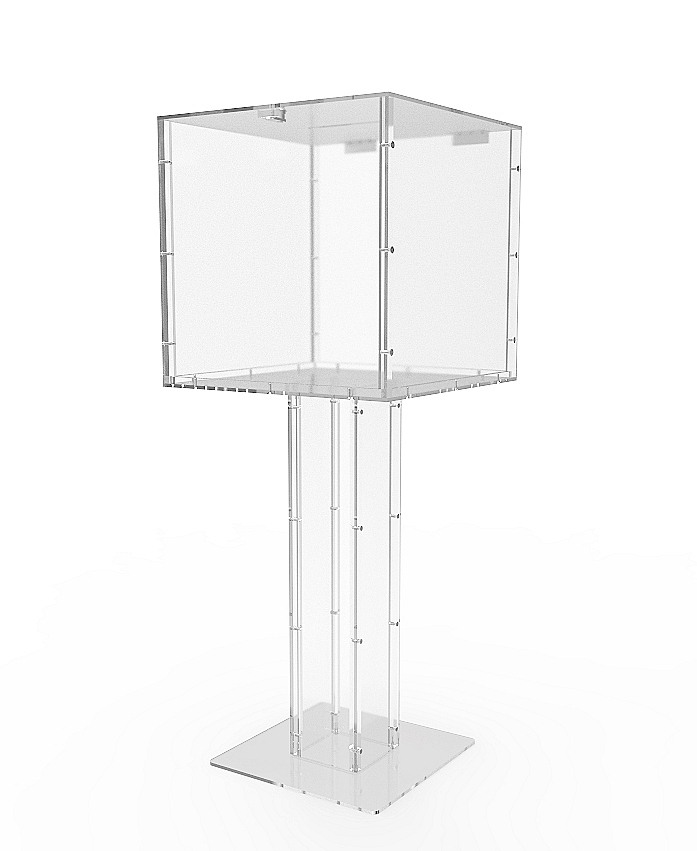 Clear Acrylic Floor Standing Tithing Box fering