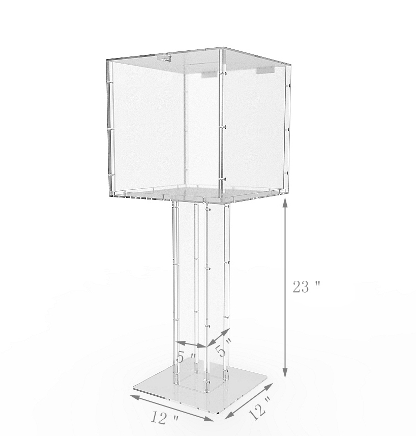 Acrylic Offering Boxes : Clear acrylic large floor standing tithing box offering