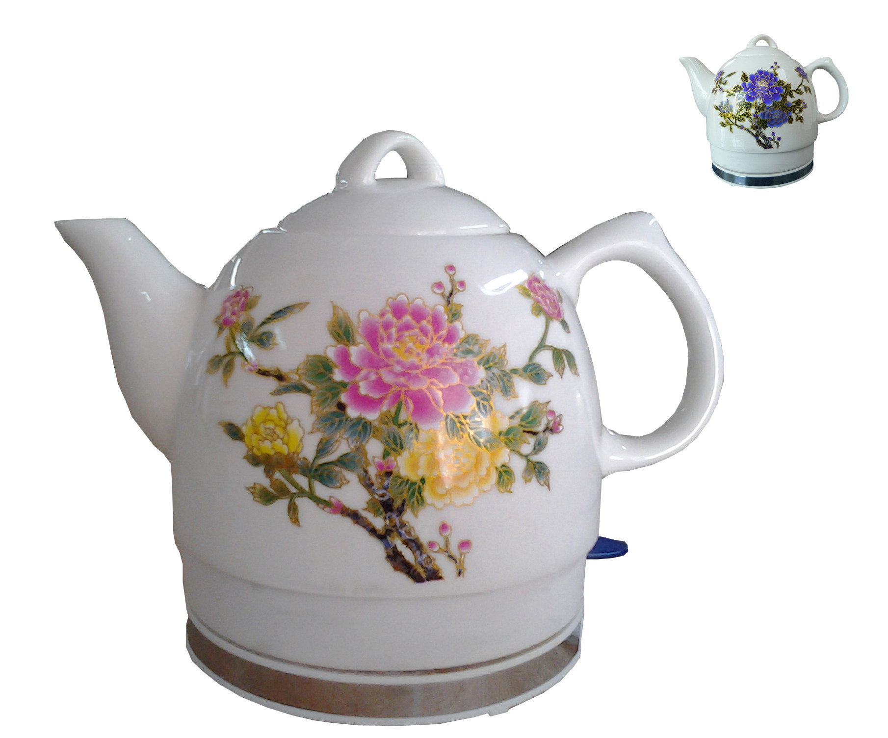 Porcelain Electric Kettle ~ Ceramic electric kettle with peony flower pattern two tone