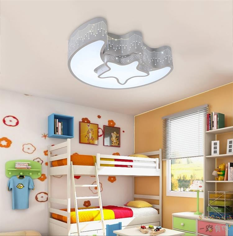 Bedroom Light Fixtures: Star Moon Light Fixture Kid's Room Ceiling Lamp LED Baby