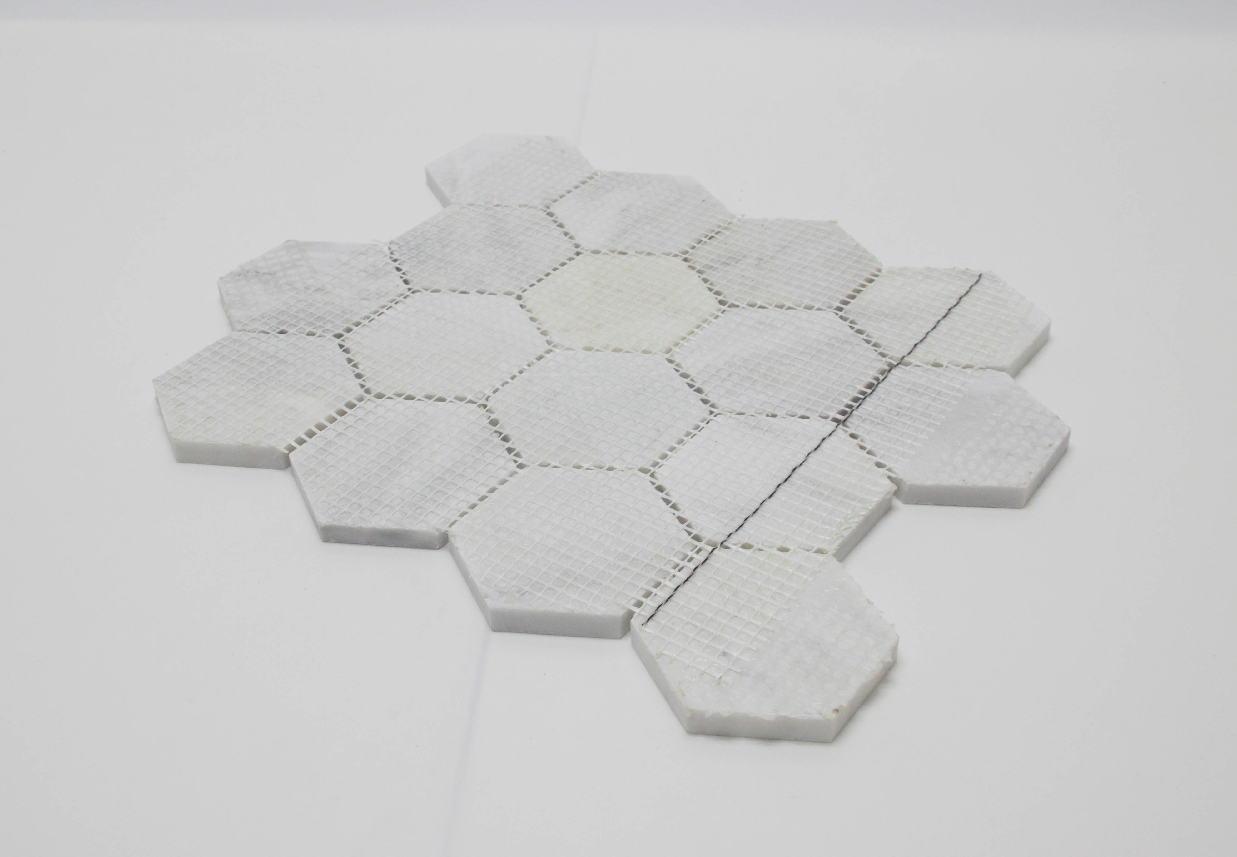 Carrara White Marble Mosaic Tile Hexagon Tiel Natural