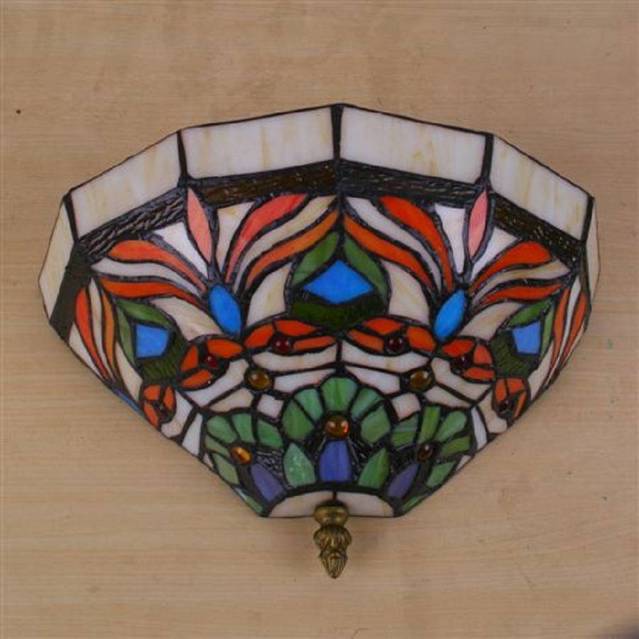 Tiffany wall scones lamp stained glass scones light Stained glass bathroom light fixtures